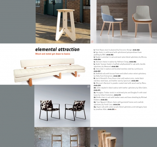 reclaimed timber stools featured in interior design magazine