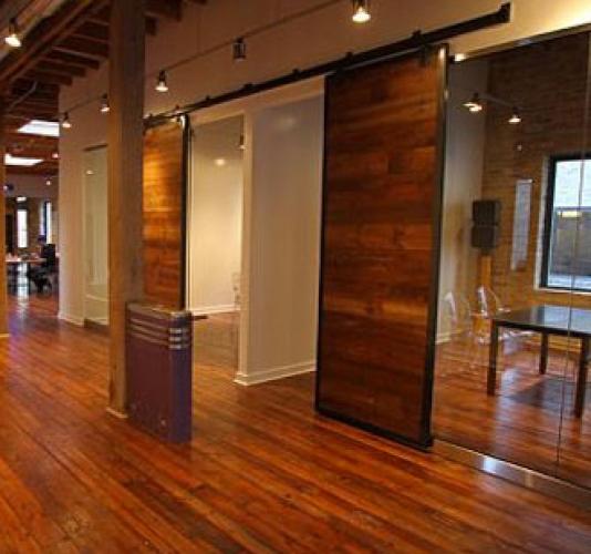 Sliding Barn Doors Heart Pine Flooring Chicago Loft Office