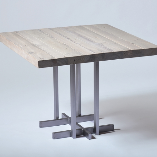 Wright Base Cafe Table in Silver Pine