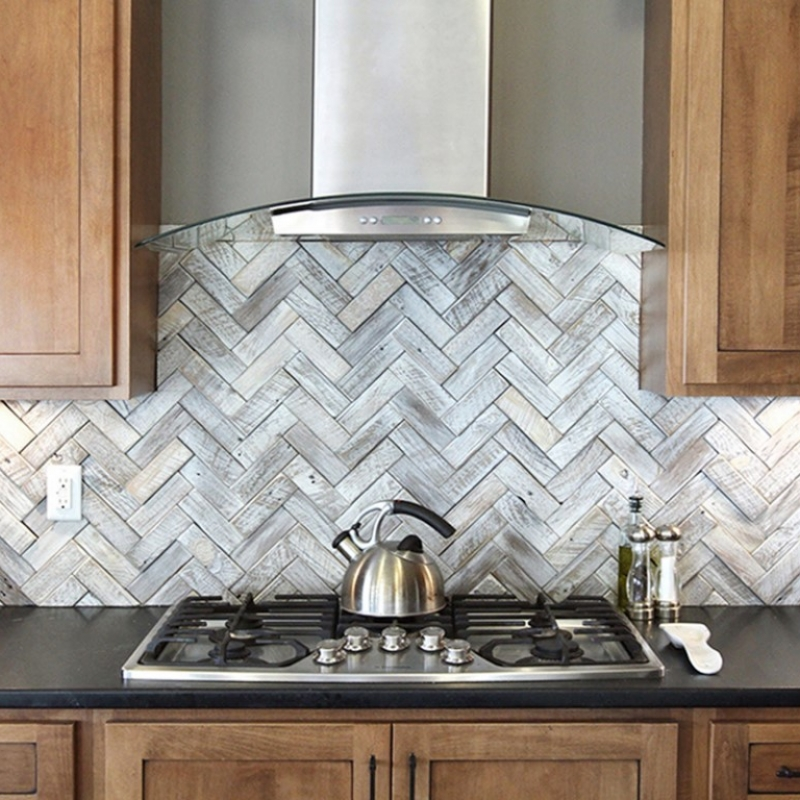 Herringbone White Wood Wall Tiles in Kitchen